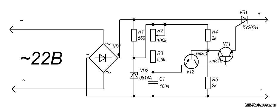 Схема зарядного устройства для автомобильных аккумуляторов на тиристоре.